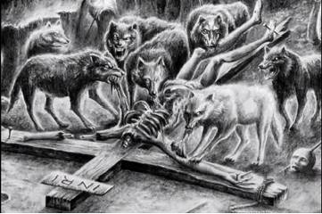 Jesus being eaten by the pack of wolfes