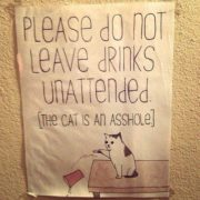 Please do not leave drinks unattended [the cat is an asshole]
