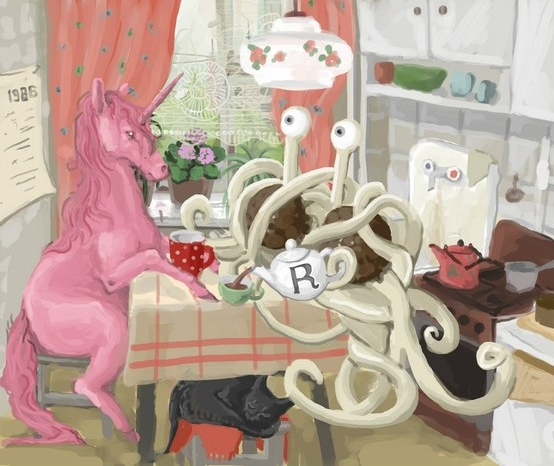 Unicorn and Spaghetti Monster tea party
