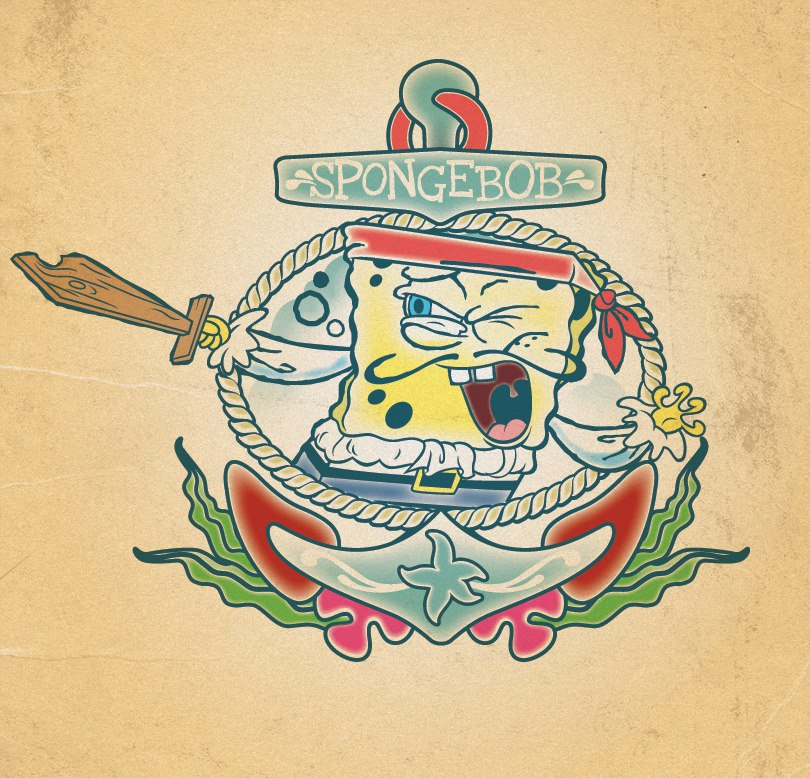 SpongeBob SquarePants flash tattoo design