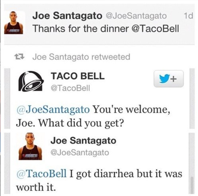 Thanks for the dinner at taco bell