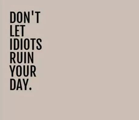 Don't let idiots ruin your day