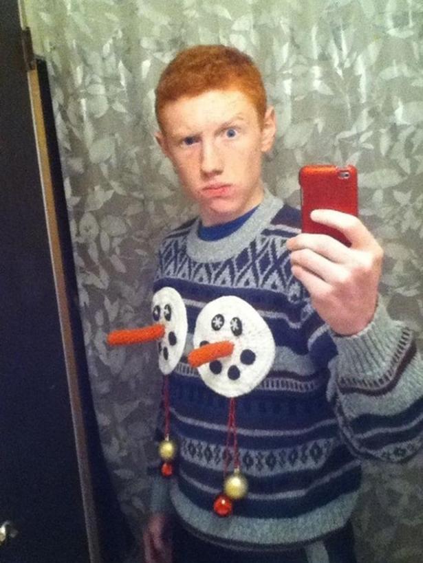 Nice snowman sweater bro!