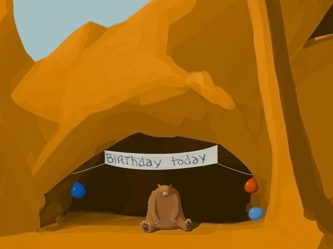 Sad bear birthday cave