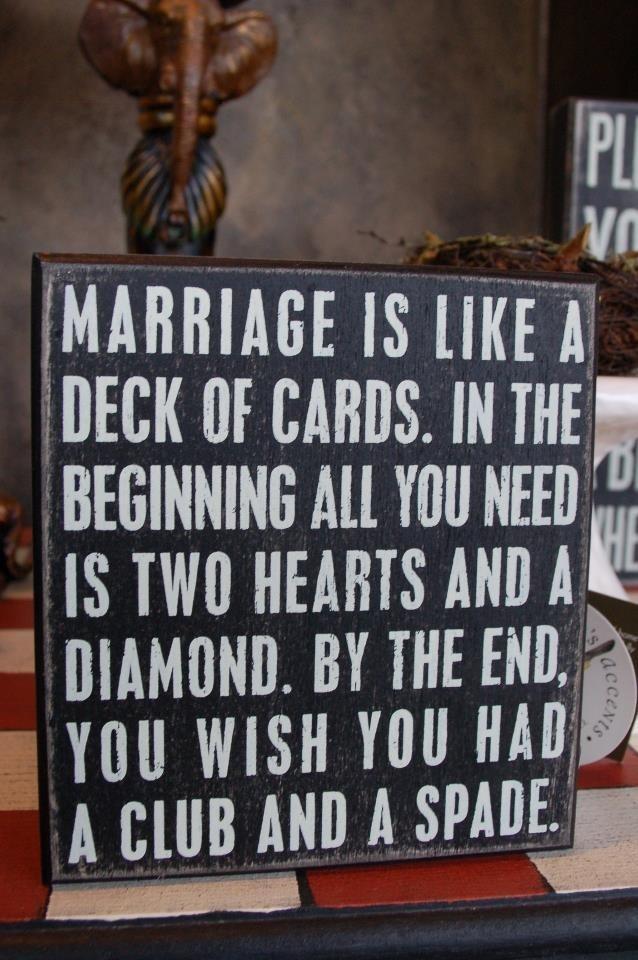 Marriage is like…