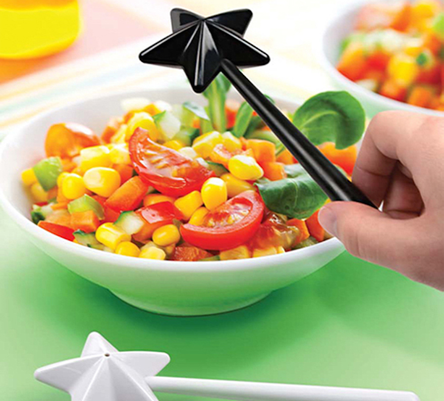 Magically season your food with wand salt and peper shaker