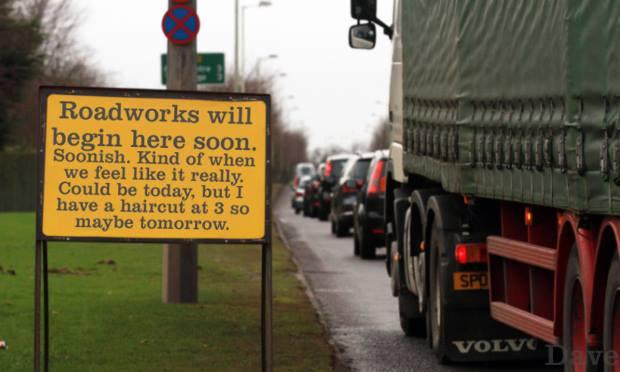 Roadworks will begin here soon.