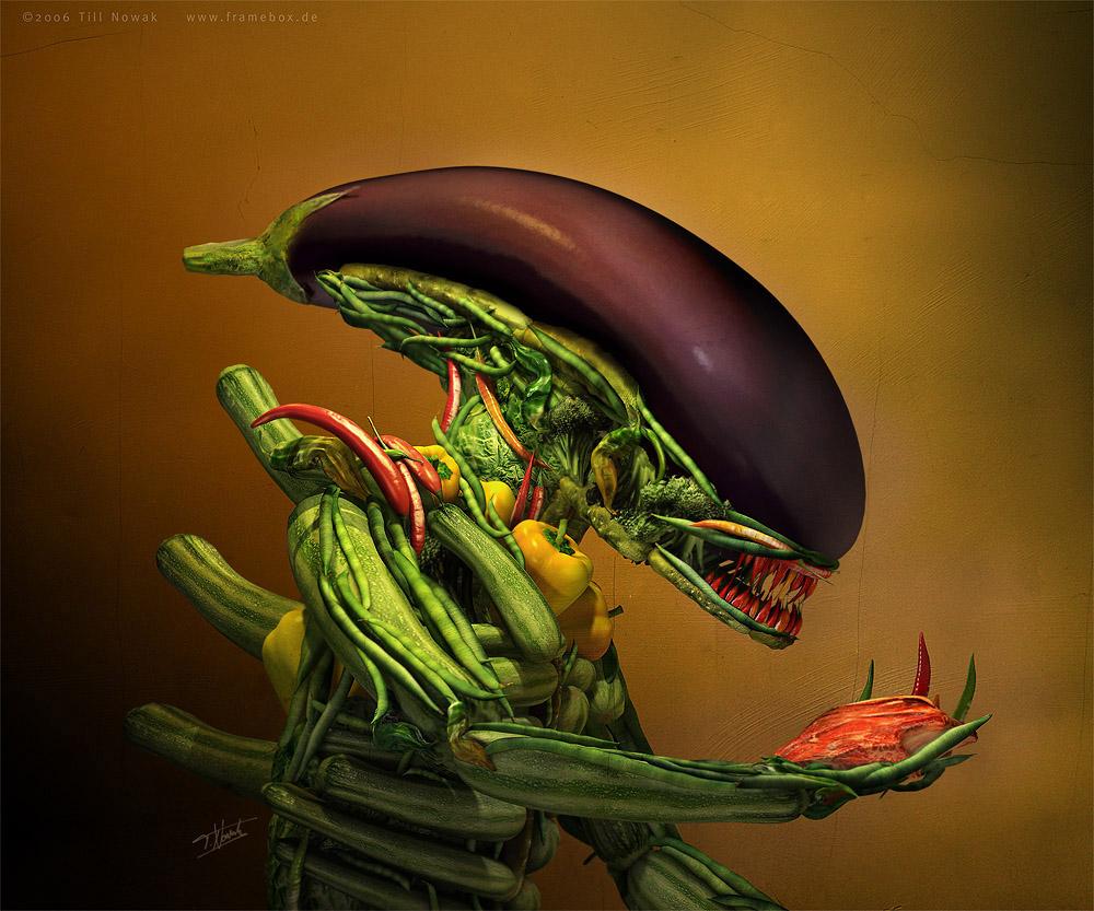 Salad, alien made out of vegetables