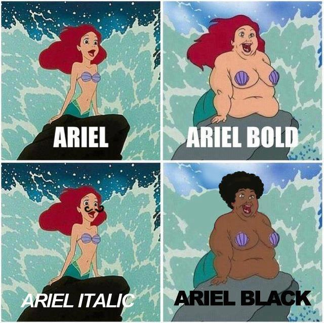 Ariel typography explained