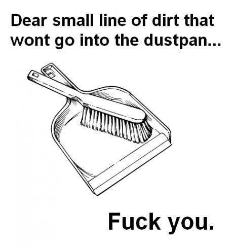 Dear small line of dirt that won't go into the dustpan…