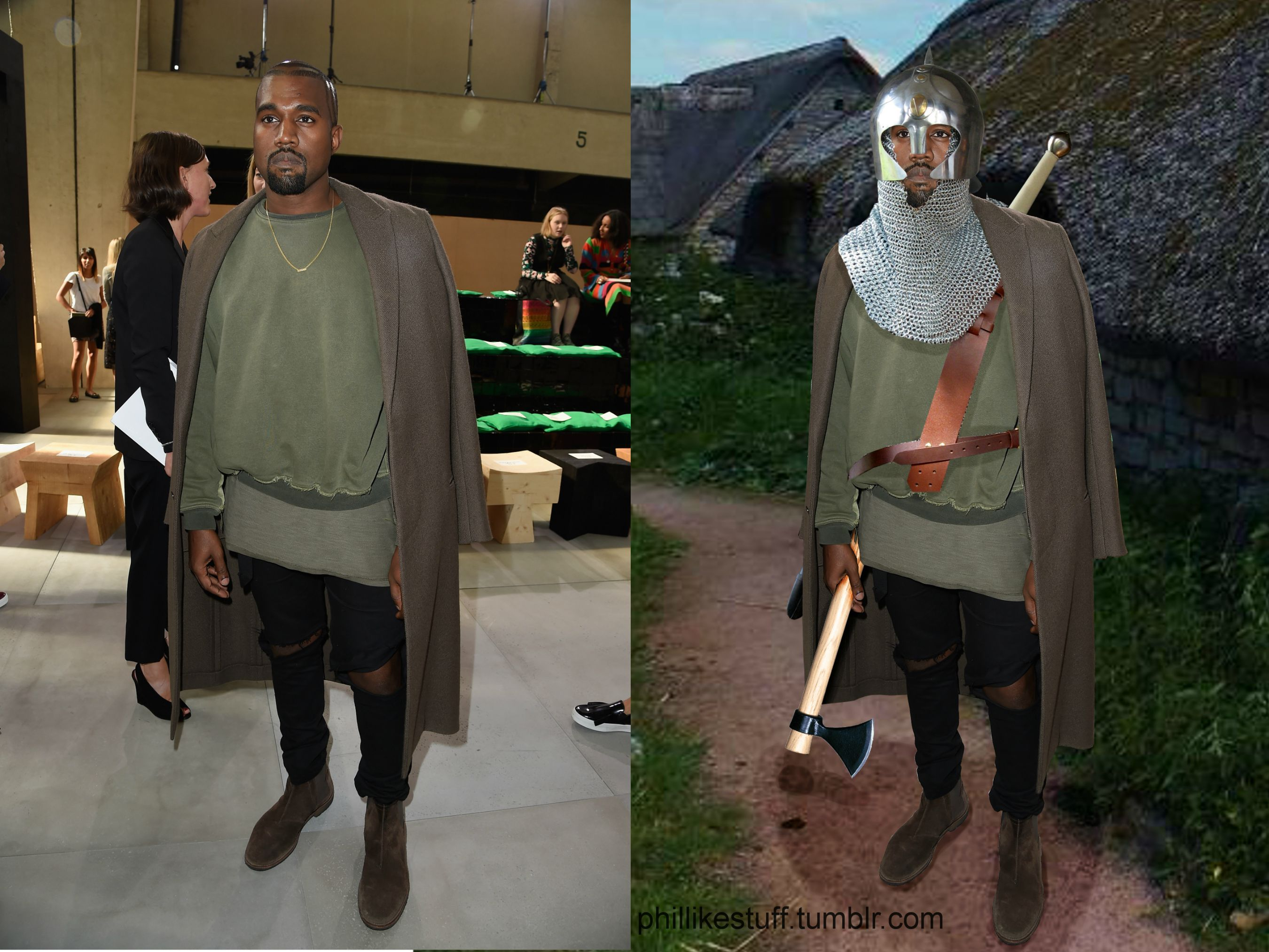 Kanye dressed as a level 1 RPG character at a fashion show