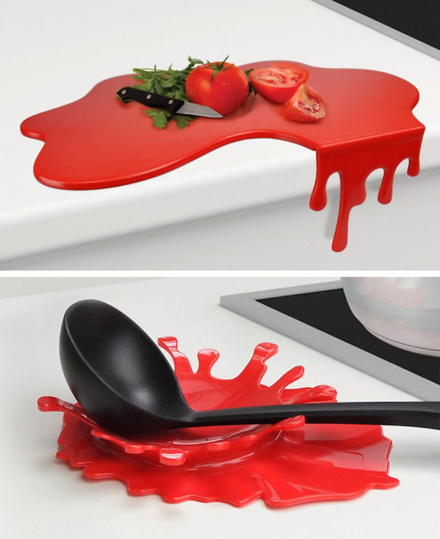 Splash-shaped spoon rest and cutting board