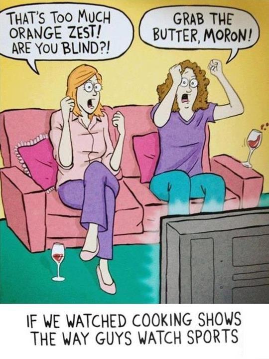 Women watching cooking shows