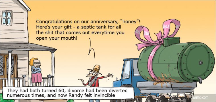Marriage anniversary gift – a septic tank.