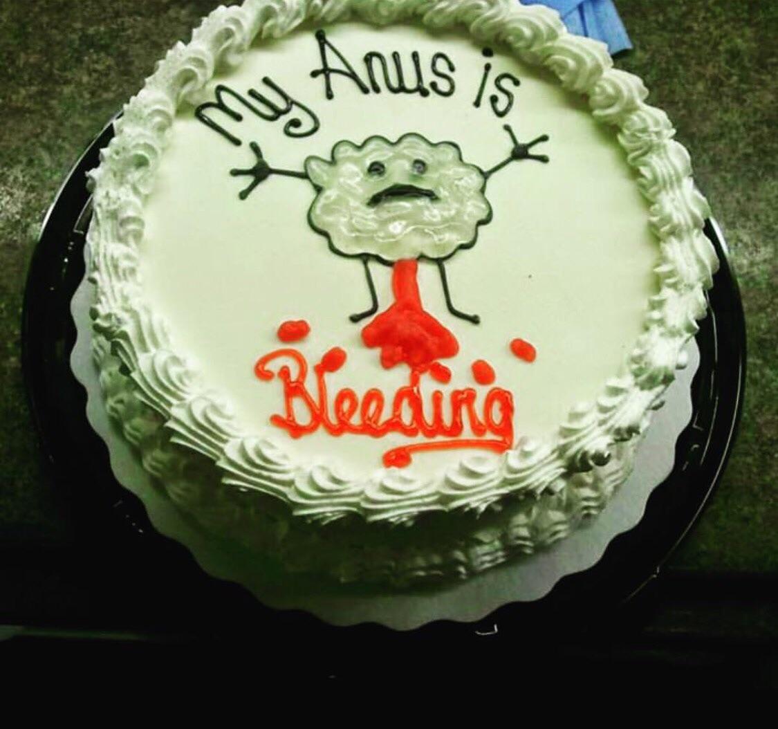 """""""My anus is bleeding"""" cake"""