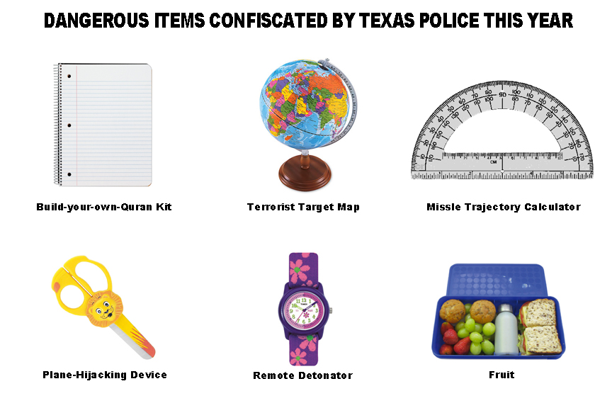 Dangerous items confiscated by Texas police
