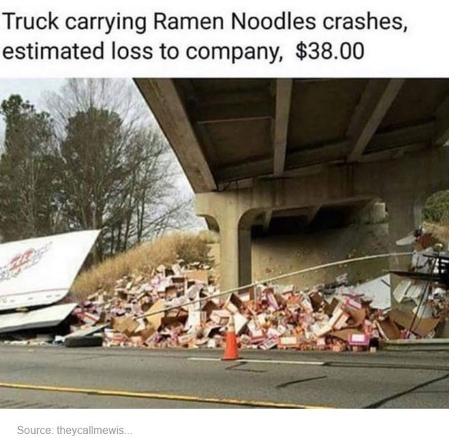 Truck carrying Ramen Noodles crashes…