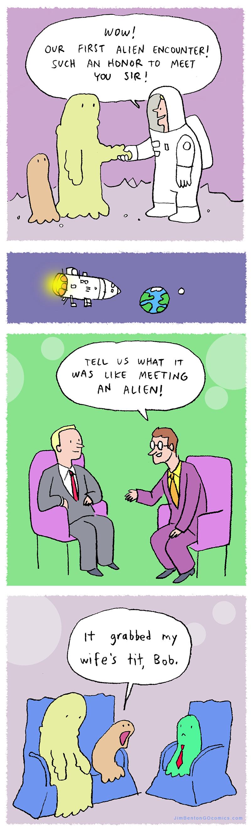 First alien encounter.