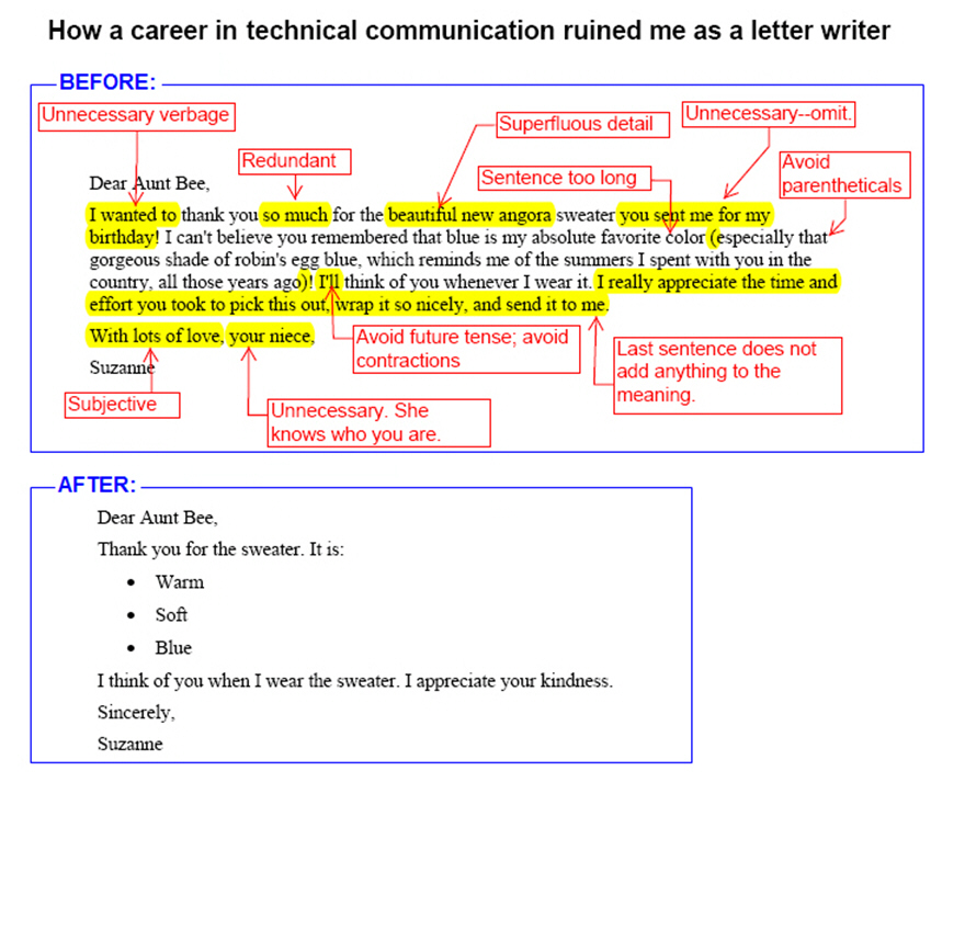 How tech writing ruined me as a letter writer.