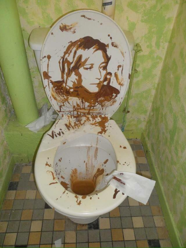 Magnificent poop artwork…but I won't invite any artists to my house parties any more.
