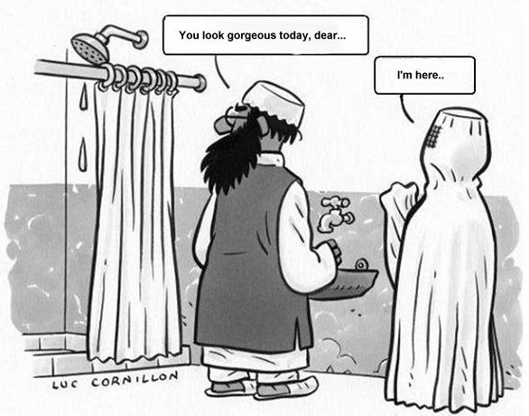 What's the difference between shower curtain and a wife in a burka…
