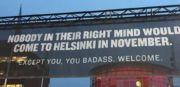 Welcome sign by the airport in Helsinki, Finland