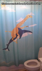 Pirate giraffe riding a shark