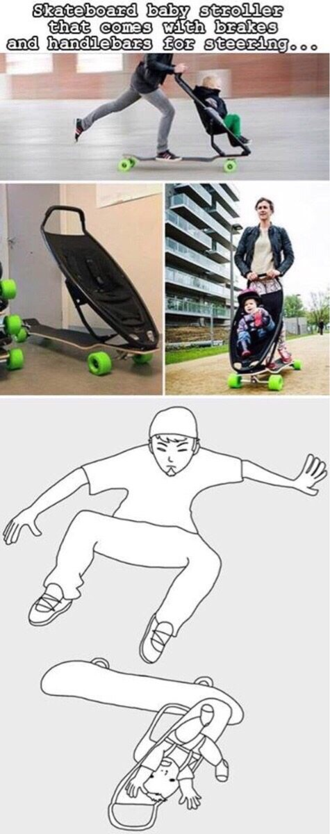 Skateboard baby stroller