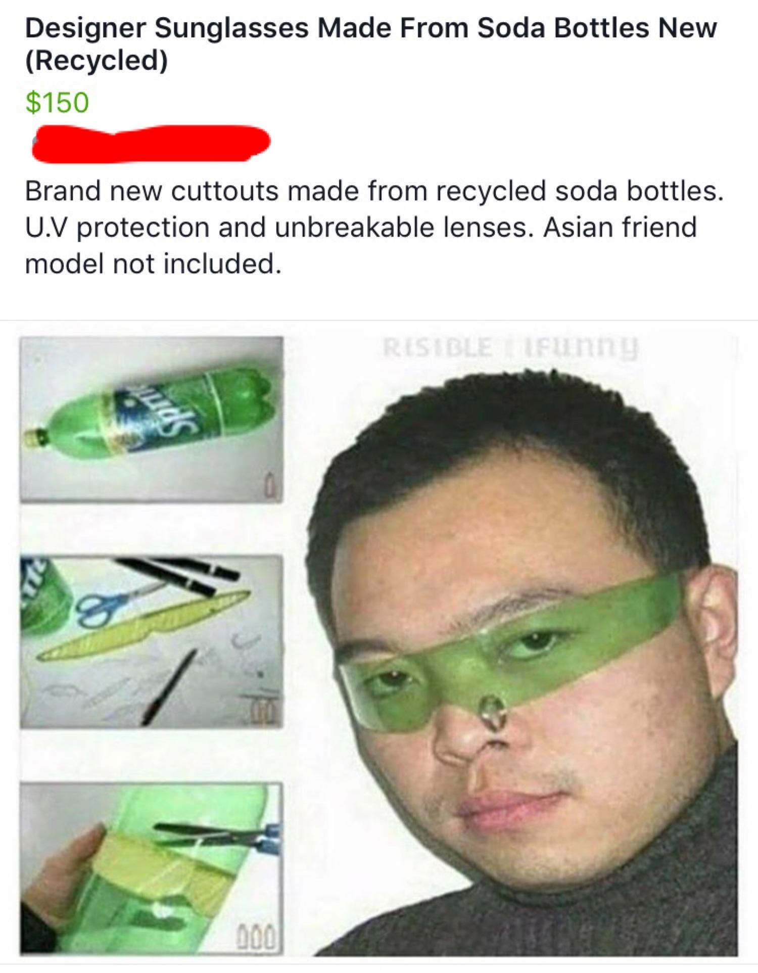 Designer sunglasses made from soda bottles