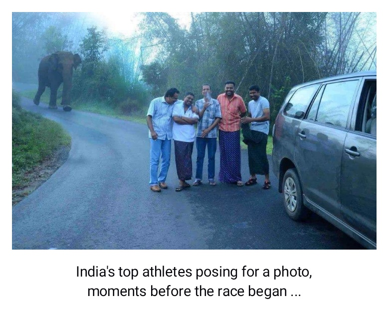 India's top athletes posing for a photo, moments before the race began