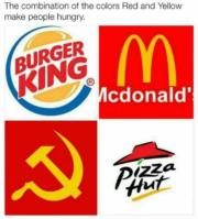 The combination of the colors red and yellow make people hungry