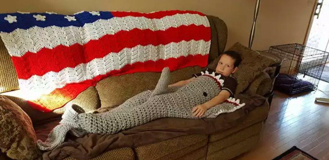When Grandma makes a shark blanket
