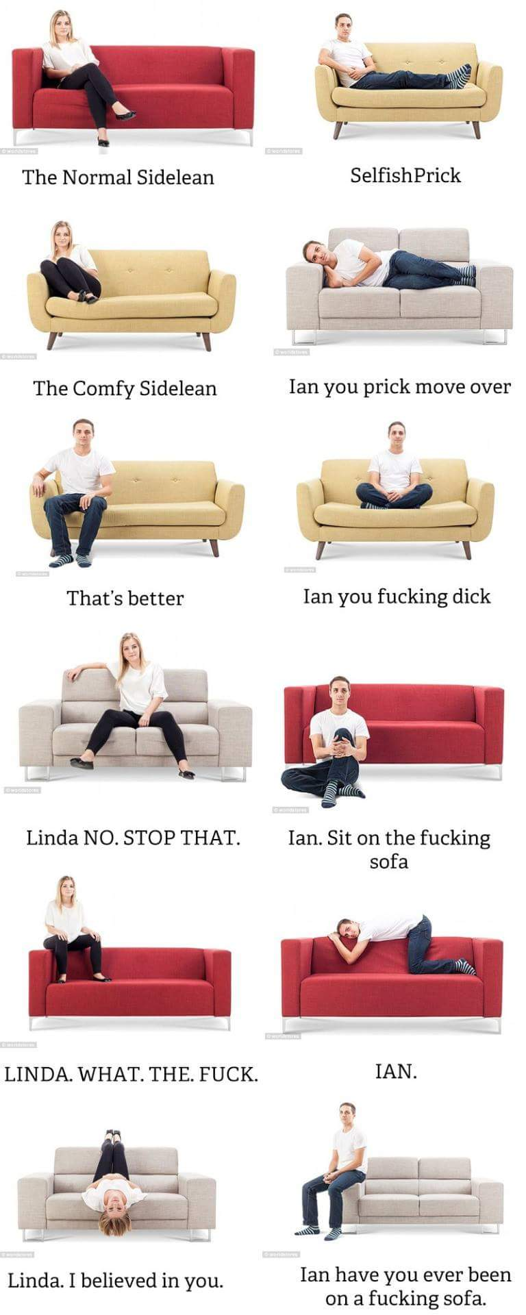 How to sit on a couch