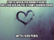 Heart on a steamy shower door