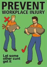 Prevent workplace injuries. Let some other cunt get it.