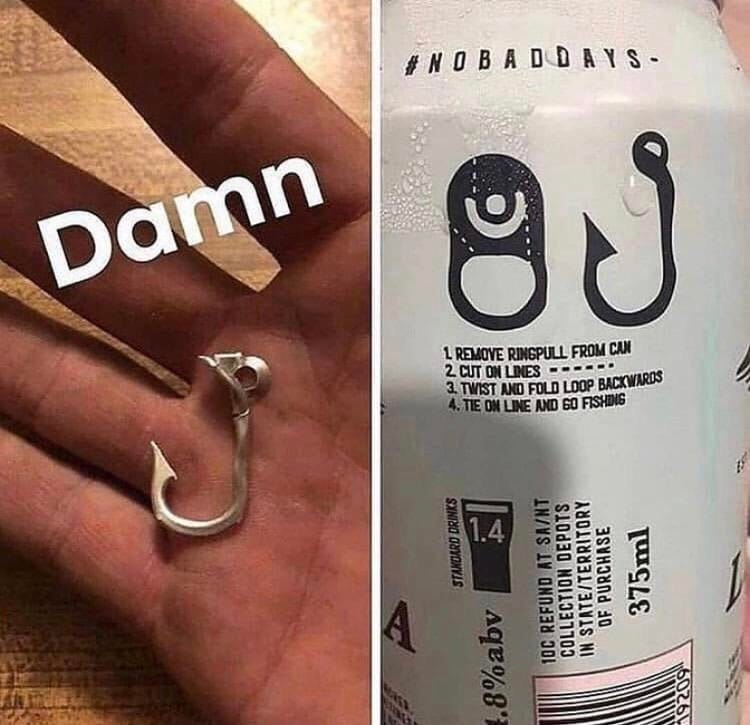 Get a fishing hook from a beer can, smart design