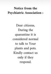 Notice from the Psychiatric Association during the quarantine
