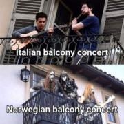 Italian balcony concert VS. Norwegian balcony concert