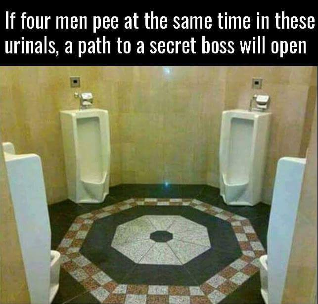 If four men pee at the same time in these urinals, a path to a secret boss will open