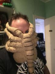 Protect yourself with crochet alien face hugger mask