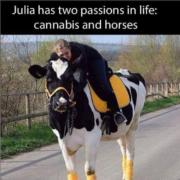 Julia has two passions in life – cannabis and horses