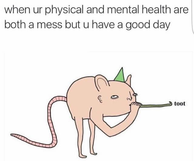 When ur physical and mental health are both a mess but u have a good day