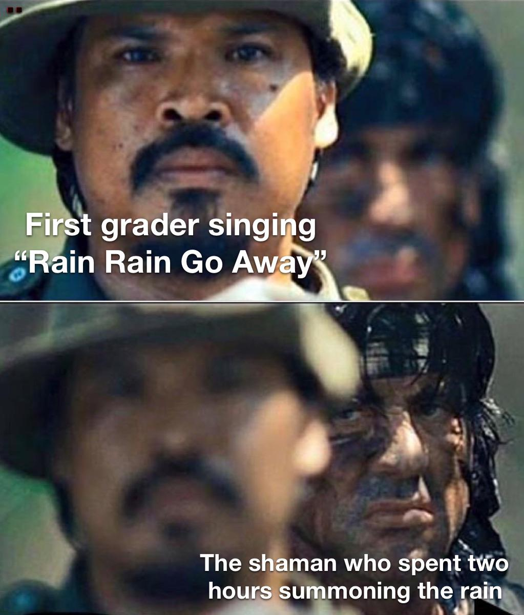 First grader vs shaman about the rain