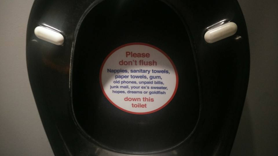 Please don't flush down this toilet
