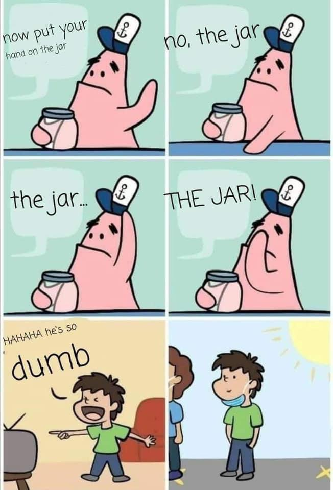 Now put your hand on the jar