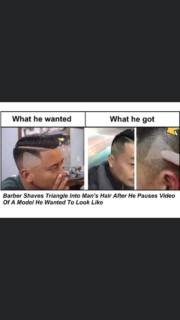 Barber shaves triangle into man's hair