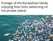 Footage of the Kardashian family enjoying their time swimming on the private island