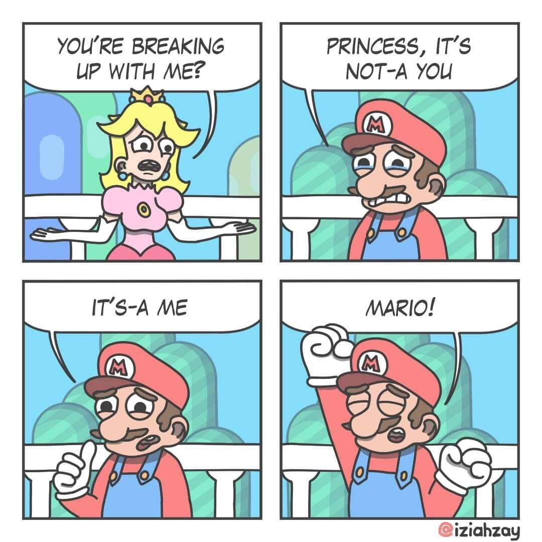 Mario breaking up with princess Peach