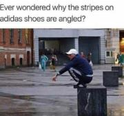 Why the stripes on adidas shoes are angled